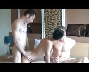 two older dudes with asian escort