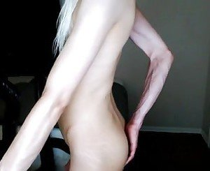 White femboy plays with his asshole