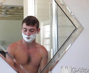 HD - GayRoom Twink get his ass shaved then fu