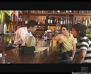 Horny Gay Threesome At The Bar