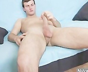 Teen boy wears nude pantyhose to cum