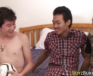 Asian threeway twinks cum