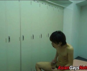 Asian twink jerks cock