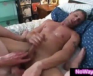 Roommate rides hard cock in gay sex adventure with straight guy